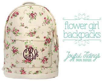 SALE Embroidered Flower Girl Backpack, Flower Girl Gift, Girl's Backpack, Monogrammed, Back to School Bag, Floral Backpack, Canvas Bag