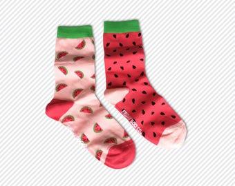 Women's Mismatched Watermelon Socks