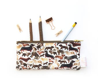 Pencil Case, Sausage Dog, Gift For Dog Lover, Pencil Pouch, Make Up Bag, Small Bag, Zipper Pouch, Pouch, Bag, pencil bag, cute pencil case,