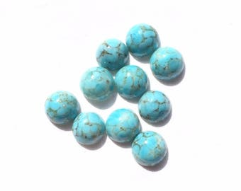 set of 10 small faux turquoise glass cabochons
