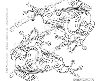 "Lizards, Turtles, and Frogs ""Stripes and Dots Tree Frogs"" Adult coloring page printable download from Artwork Anywhere ~hand drawn frogs~"