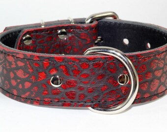 Red Leather Dog Collar - Leather Red Dog Collar - Reddish Gator Like Leather Dog Collar - Alligator embossed Red Leather Dog Collar