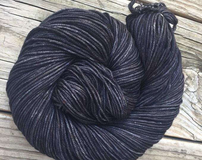 Gunpowder Gray Black Hand Dyed Worsted Weight Yarn Hand Painted yarn 218 yards Superwash Merino Wool treasure goddess swm lilac charcoal