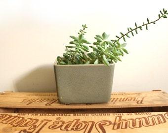 vintage planter 60s mid century ceramic 1960s home decor olive green rectangular succulent