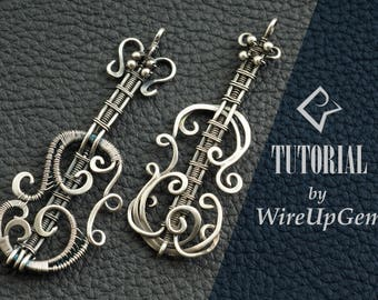 Wire wrap tutorial, Wire wrapping, violin pendant, tutorial, PDF tutorial. Wire Wrapped pendant
