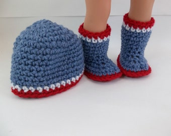 18 inch Doll Clothes Blue Denim Crochet Boots and Hat with Red and White Trim to fit American Girl Boy Doll