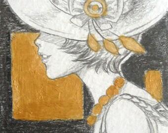 Original ACEO ATC drawing - Hat lady II