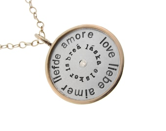 Language of Love Charm Necklace Hand Stamped Sterling Silver and Gold Rimmed with Diamond Pendant Custom Personalized Anniversary Jewelry
