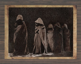 Natural sand painting 18x24 cm Monks