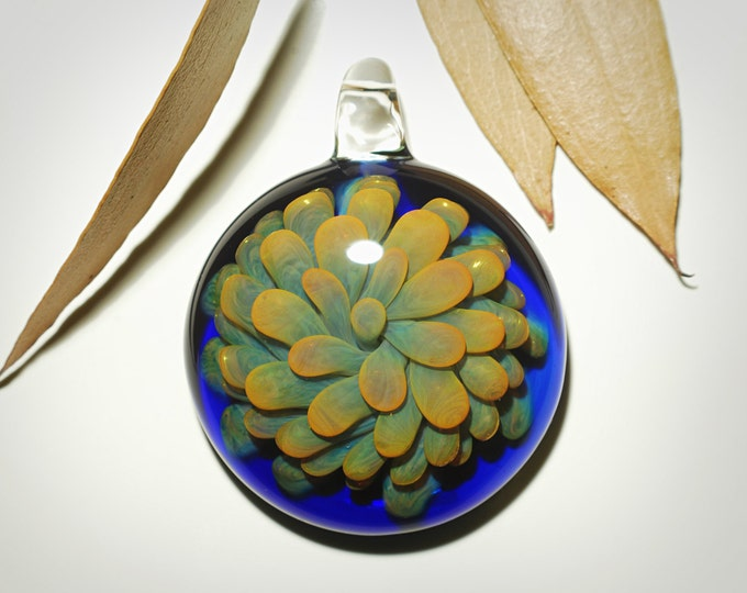 3D Golden Flower Pendant - Hand Blown Glass Pendant - Handcrafted Glass Art - Glass Necklace - Glass jewelry made with pure gold