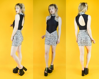 80s 90s Black Zebra Print Stretchy Spandex Bodycon Mini Dress XS / S