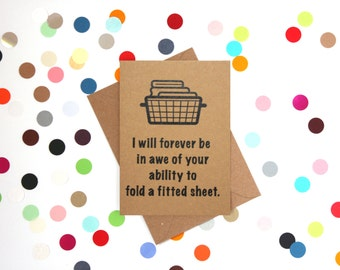 Funny Mother's Day card, Funny Mothers Day Card: I will forever be in awe of your ability to fold a fitted sheet