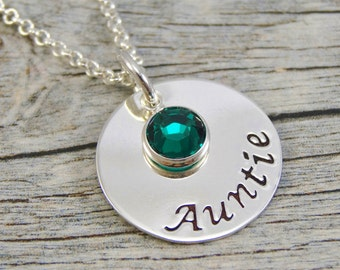 Hand Stamped Jewelry - Personalized Jewelry - Auntie Necklace - Sterling Silver Necklace - Birthstone