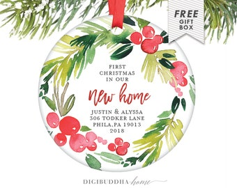 First Christmas In Our Home Christmas Ornaments New Home, Housewarming Gift for New Homeowners Clients From Real Estate Agent Ornament Gift