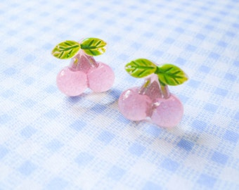 Cherry Earrings, Cherry Stud Earrings, Cherry Post Earrings, Cute Cherry Earrings, Cute Earrings, Summer Earrings, Fruit Earrings