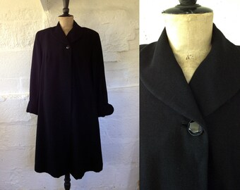 1940s-50s Black Grosgrain Film Noir Swing Coat with Gathered Sleeves / 50s Coat / Vintage Coat / SIZE UK 12-14