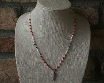 Chain Tassel Necklace | Beaded Chain Necklace | Red & White | Tassel Necklace | Long Necklace | Layering necklace | Everyday jewelry