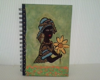 African Lady painted journal