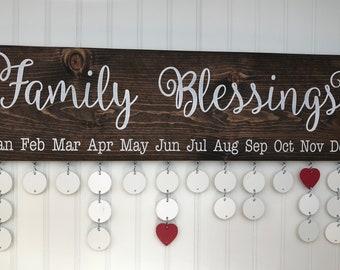Family Blessings Board - Family Calendar - Family Birthdays Calendar - FBL002W