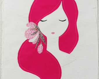"""""""Pinky"""", original textile artwork stitched by hand and machine"""