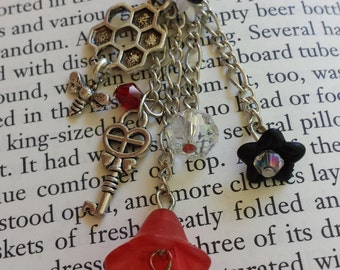 Red Honeycomb Bee Flower Dangle Necklace with Key and Faceted Sparkling Glass Beads - Adult or Child, Fairy, Costume, Faire