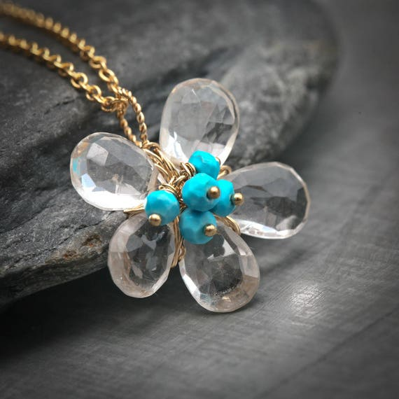 Rock Crystal and Turquoise Daisy 14k Gold Filled Necklace
