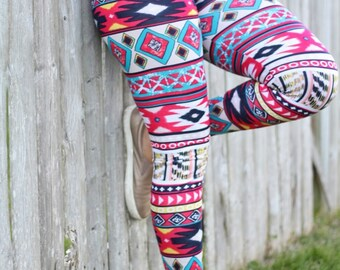 Tribal leggings for women, womens tights, aztec printed leggings, womens printed leggings, colorful leggings red,white and blue