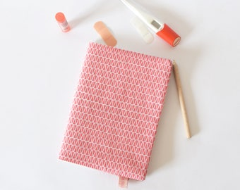 Handmade notebook cover, A5 notebook cover, pink, pink cover, fabric notebook cover, office accessory, eco friendly, coworker gift, college