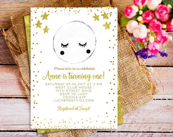 Moon Invitation, Star Invitation, Birthday Invitation, First Birthday, Moon and Stars, Moon and Stars Birthday Gold invitation, stars invite