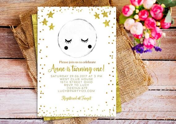 moon invitation star invitation birthday invitation first