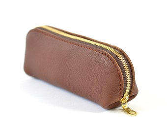 Brown Leather Glasses Sunglasses Case Handmade Pouch Wallet