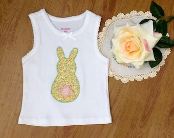 Pretty Bunny top, easter shirt, baby girls tank, size 12-18 months.