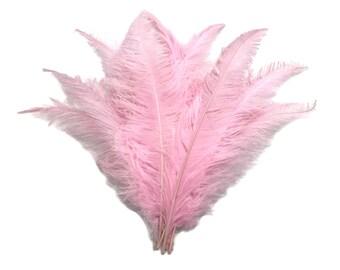"""Plumes, 10 pièces - 20-28"""" lumière rose pique grande aile de plumes d'autruche: 4441"""