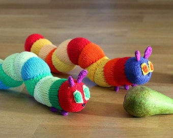 Caterpillar  toy knitting pattern PDF instant downloadm knitting tutorial caterpillar toy