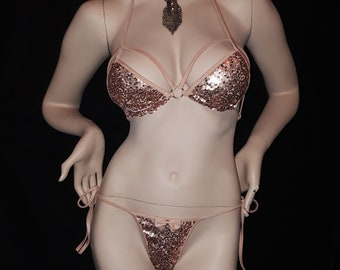 Rose Gold sequins Stripper Dancewear,swimwear.