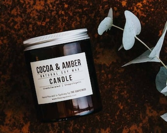 Cocoa & Amber Pure Soy Wax Candle