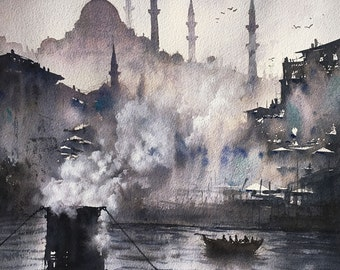 Istanbul Suleymaniye Mosque watercolor painting art print