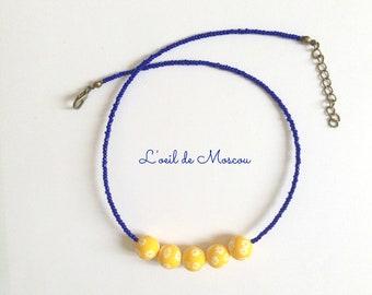 original 5 necklace beads yellow, belues
