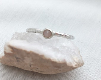Peach moonstone stacking ring - peach stone ring - silver and pink- simple gemstone ring - gemstone ring - stacking ring - moonstone ring