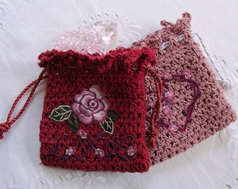 Crochet Pouches, Crocheted Gift Bag, Jewelry Pouch, Valentine's Gift, Girlfriend Gift, Drawstring Pouch, Offered as a Pair of Red and Pink