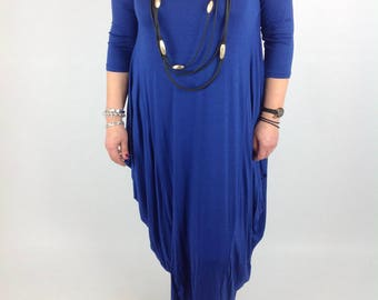 Lagenlook Dress Tunic Stretchy Viscose Quirky Plus Size 14 16 18 20 22 in Royal Blue