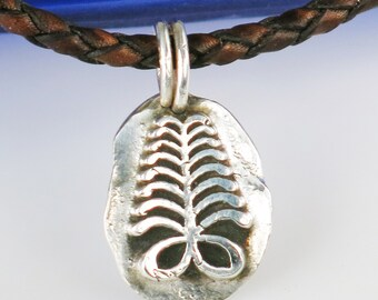 African Adinkra Akan Symbol AYA Fern - Fine Silver Amulet - Endurance / Resourcefulness - AYA Fern Silver Pendant//Endurance/Resourcefulness