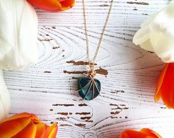 apatite necklace, crystal necklace, gemstone necklace, chakra necklace, throat chakra necklace, blue crystal necklace, apatite jewelry