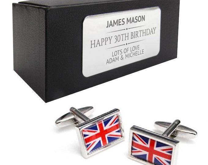 Union Jack, United Kingdom flag CUFFLINKS 30th, 40th, 50th, 60th, 70th birthday gift, presentation box PERSONALISED ENGRAVED plate - 084