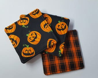 Jack o Lantern Pumpkin Coasters - set of 5
