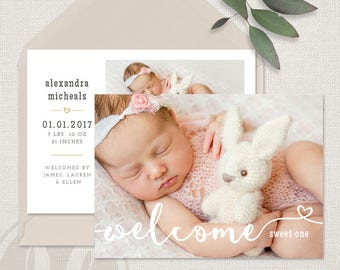 Birth Announcement Template - Baby Announcement, Instant Download, DIY Birth Announcement, Photoshop Template, Printable Announcement