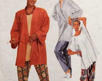 McCall's 7554 Fun jacket with unusual front, pants, headwrap and top pattern Uncut Sizes extra small (4-6), small (8-10) and medium (12-14)