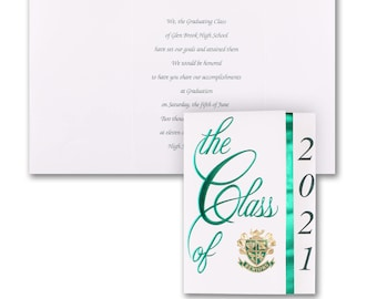 Class Colors Graduation Announcements Green, Personalized White And Green Graduation Announcements, White Envelopes Included