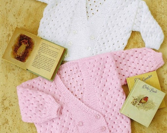 Babies, Toddlers, Pretty Cross Over Double Breasted Cardigan, Jacket In Eyelet Stitch. Vintage Knitting Pattern. PDF, Digital Download.