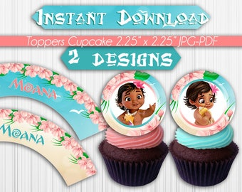 Baby Moana Cupcakes Toppers Instant Download, Printable Moana Party Cupcakes Topper, Instant Download, pdf jpg